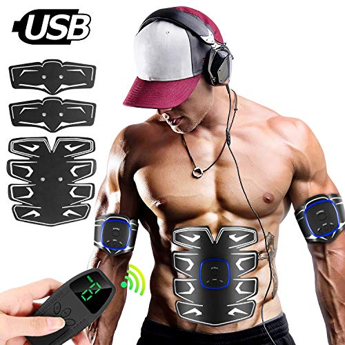8-Pack Abs Muscle Stimulator with LCD Display Remote Control - EMS Ab Stimulator Abdominal Toning Belt - Home Workout Device for Thin Body Fitness - USB Rechargeable - Free 12PCS Replacement Gel Pads