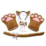 KEESIN Katze Cosplay Set Plüsch Klaue Handschuhe Katze Kätzchen Ohren Schwanz Kragen Pfoten Cute Adorable Party Kostüm Set für Kinder und Erwachsene (Weiß)
