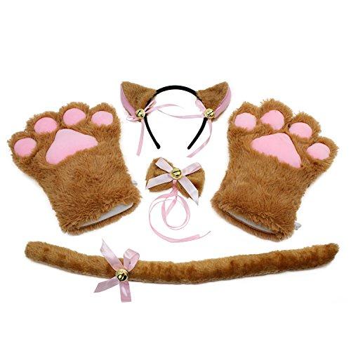 KEESIN Conjunto de Cosplay de Gato Guantes de Garra de Felpa Orejas de Gatito de Gato Collar de Cola Patas Disfraz de Fiesta Adorable Lindo para niños y Adultos (marrón)