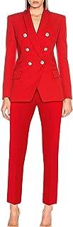 UONBOX Women's 2 Pieces Office Suits Slim Fit Blazer Jacket Pants Suit Set
