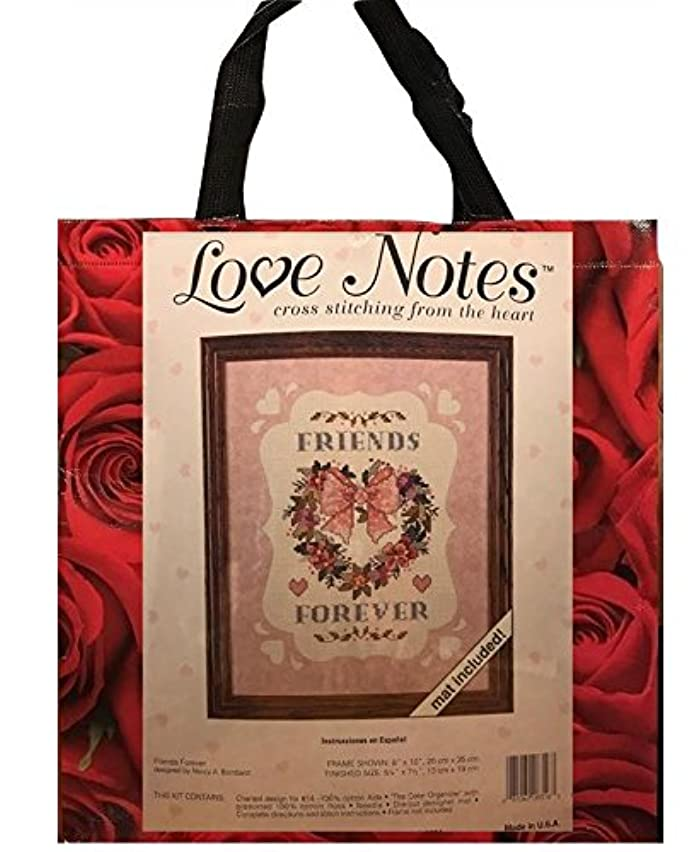 Dimensions Love Notes Friends Forever Heart Wreath Counted Cross Stitc Needlework Kit & Red Roses Tote Bag Gift Bundle