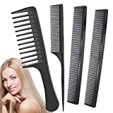 Styling Hair Comb Set - Anti Static Heat Resistant Tail Comb - for All Hair Types - Fine and Wide Tooth Combs for Women - Plastic Hair Cutting Comb (4 Pack)