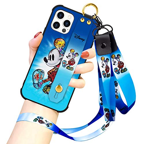 DISNEY COLLECTION Designed for iPhone 12 PRO MAX Case, Mickey Mouse Street Fashion Wrist Strap Band Protector Phone Cover Lanyard Case for iPhone 12 PRO MAX 6.7 Inch 2020