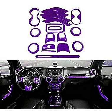 Opall 18PCS Full Set Interior Decoration Trim Kit Steering Wheel & Center Console Air Outlet Trim, Door Handle Cover Inner, Passenger Seat Handle Trim For Jeep Wrangler 2011-2017 4 Door (Purple)