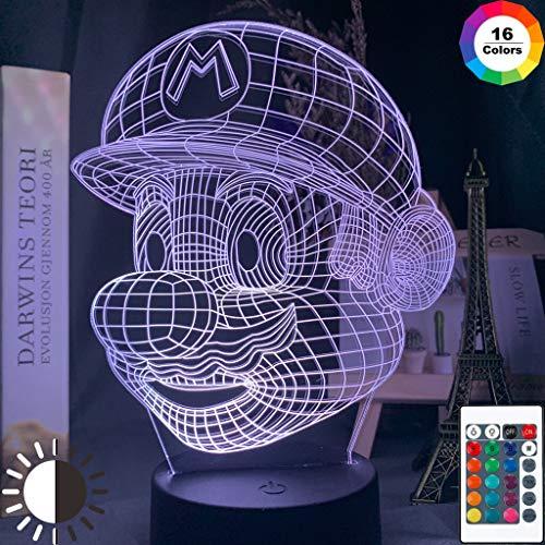 Juego Super Mario Head Holograma Mario Christmas Night Light 3D LED Lámpara de mesa niños regalo de cumpleaños decoración de la habitación junto a la cama