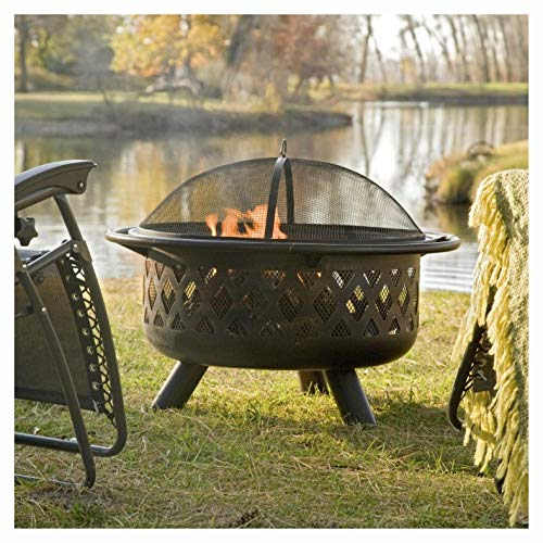 Fire Pit, 36-inch Bronze Fire Pit with Grill Grate Spark Screen Cover and Poker