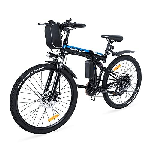VARUN Faltbares E-Bike 26 Zoll Faltbar E-Klapprad 250W Motor 36V 8Ah(288Wh) Lithium-Ionen-Batterie Elektrofahrrad Mountainbike mit Shimano 21-Gänge Klappbar Pedelec für Damen und Herren (Schwarz)