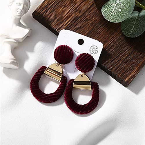 YULE Pendientes de felpa de aleación vintage de temperamento, color blanco y negro con colgante de terciopelo para mujer, joyería de regalo única (color metálico: rojo)