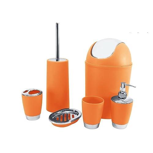 Gentil SQ Professional Bathroom Accessory Set, Orange, 6 Piece