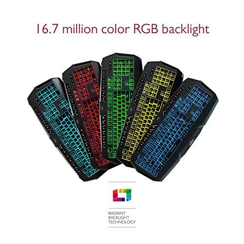 Lioncast LK12 RGB Gaming Tastatur (USB, Anti-Ghosting, 9 Multimedia-Tasten, 6 Makro-Tasten, 16,7 Millionen Farben, Software zur Programmierung)