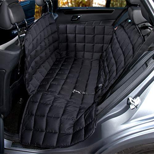 Doctor Bark Hunde 2-Sitz-Autoschondecke für die Rücksitzbank, All-Side Schutz mit Reißverschluss für alle PKWs und SUVs, M in Schwarz