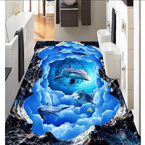 Ytdzsw Bild In Bild 3D-Tapeten Wandbilder Dolphin Sky Wallpaper Für Schlafzimmer Wände 3D-Bodenmalerei-140X100Cm