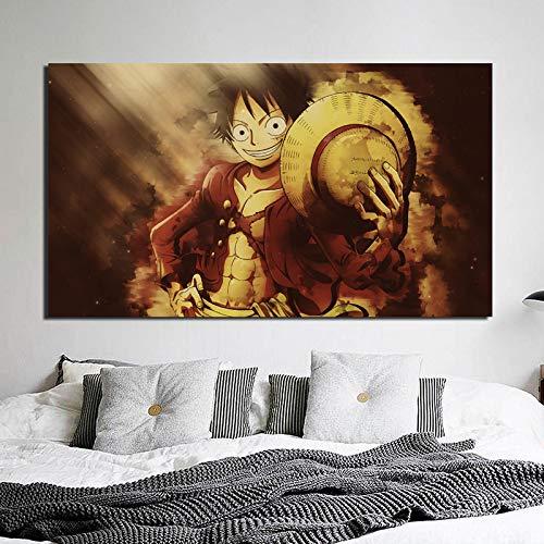 tzxdbh EIN Stück Anime-AFFE Ruffy Leinwand Malerei druckt Wohnzimmer Dekoration Moderne Wandkunst Ölgemälde Poster Bilder HD (20X35 Zoll Rahmenlos)