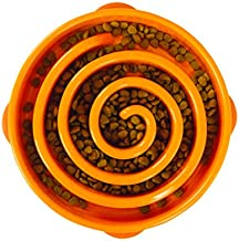 Outward Hound Fun Feeder Slo Bowl, Slow Feeder Dog Bowl, Large/Regular, Orange