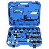 Tester della pressione del radiatore e kit del sistema di raffreddamento del tipo a vuoto, 28pcs Tester universale per perdite del serbatoio dell'acqua per auto Kit di strumenti per il rilevamento del