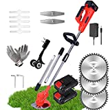 String Trimmers, Lawn Edgers Battery Powered, 21V Stringless Trimmer Electric Removable, Lawn Grass Cutting Machine, Garden Edger Tool, Cordless Grass Trimmers With Battery And Charger ( Color : Red )