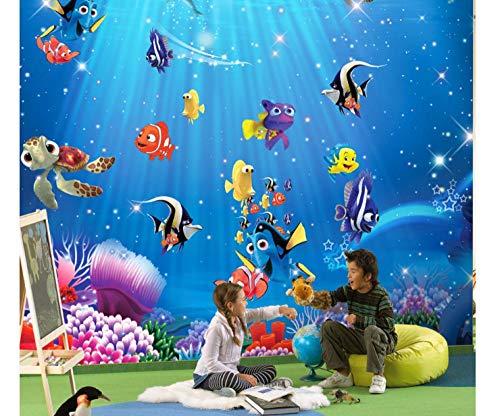 Shuangklei Sea World Fishes 3D Cartoon Murals Wallpaper Für Baby Kinderzimmer Hintergrund 3D Fototapete 3D Cartoon Sticker Tapeten-350X250Cm