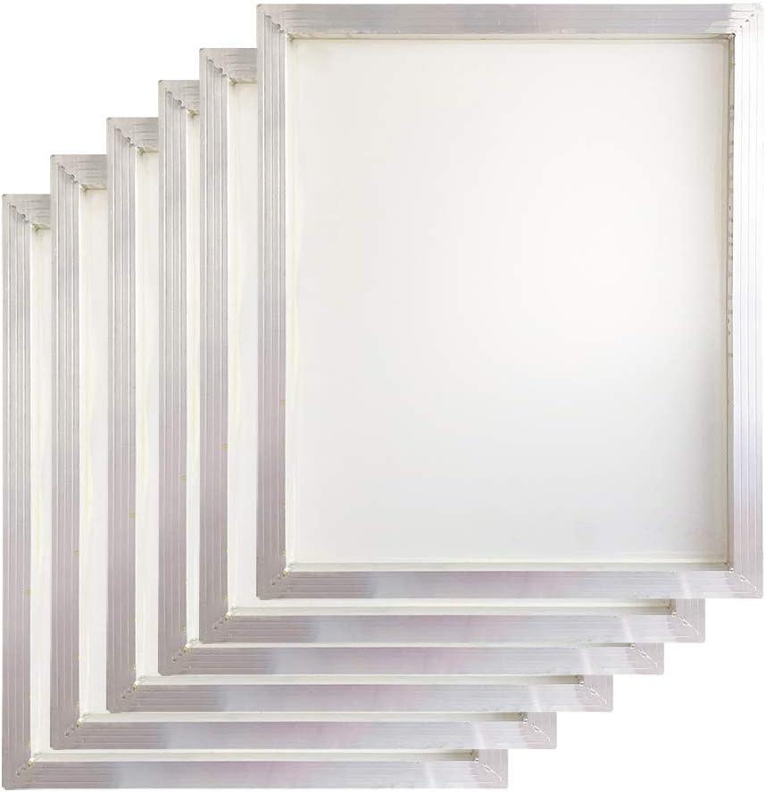 6 PCS Aluminum Silk Screen Printing Screens 20 x 24 Inch Frame-160 White Mesh