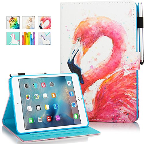 iPad 10.2 8th/7th Gen Case, iPad Air 3 Case, iPad Pro 10.5 Case, KEROM Leather Folio Stand Cover, Wallet Protective Case with Auto Wake/Sleep for iPad 10.2/iPad Air 3 2019/iPad Pro 10.5 -Flamingo