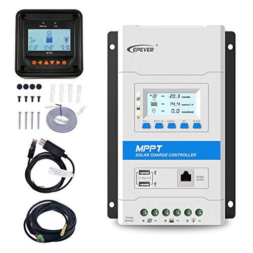 EPEVER 40A MPPTソーラー充電コントローラー12V/24V LED&LCDディスプレイ付き自動ソーラーパネル充電レギュレーターダブルUSBポートおよびMT50リモートメーター温度センサーRTSおよびPC通信ケーブルRS485