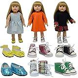 The New York Doll Collection 6 Paires Chaussures de Poupée et Baskets - s'adapte 18 Pouces / 46 cm Poupées - (Style 1) Chaussures de Poupée - Poupée Sport Chaussures - Accessoires de Poupée