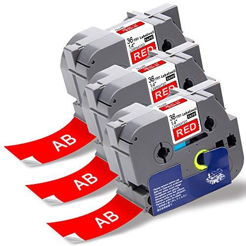 Labelwell P-touch PT-P950NW Schriftband TZe-465 TZe465 TZ-465 36 mm x 8m Rot auf Weiß Laminiert Selbstklebend für Brother PTouch PT-P900W PT-3600 PT-9200PC PT-9400 PT-9500PC PT-9600 Beschriftungsgerät