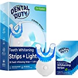 Dental Duty Teeth Whitening Kit With 14 Non-Slip Whitestrips & Whitening Accelerator Light For Perfectly White Teeth Even Faster- Professional 3D Strips For Effective Coffee & Tobacco Stain Removal