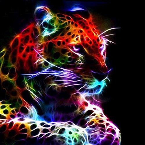 MXJSUA DIY 5D Diamant Malen nach Zahlen Kits Vollrundbohrer Strass Bild Kunsthandwerk für Zuhause Wanddekor Farbige Cheetah 30x30 cm