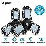 LED Garage Lights, 2 Pack Deformable LED Garage Ceiling Lights, CRI>80 Led Shop