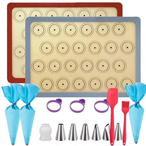 Silikon Backmatte Kit Silikonmatte Backen Macarons Groß 42×29.5cm 2er Set BPA Frei Antihaft Wiederverwendbar Für Backofen Mikrowelle Backform Liner up to 260℃ (Grau/Rot, (42×29.5 )cm 2er Set)