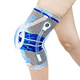 Knee Compression Sleeve, Future Way Knee Brace for Women Men with Spring Stabilizers, Anti-Collision Silicone Pad and Anti-Slip Cuff, Knee Support for Arthritis Pain and Meniscus Tear (XL, 1 Pack)