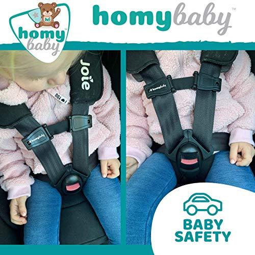 HOMYBABY Dispositivo di Sicurezza Seggiolino Auto – Fibbia Gancio Cintura Seggiolino Auto Bambino – Impedisce al Bambino di Togliere le Braccia dall'Imbracatura – Per Seggiolini, Passeggino