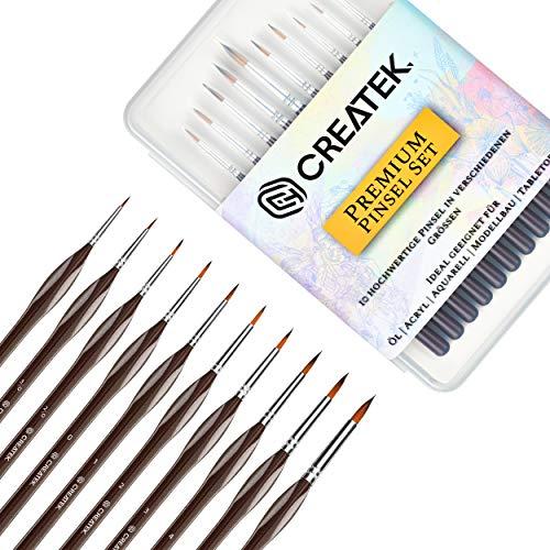 CreaTek - Innovatives Pinselset Malen - 10 Premium Detail Pinsel - Perfekt für Acryl, Aquarell, Modellbau, Warhammer 40k - Paint Brush Set