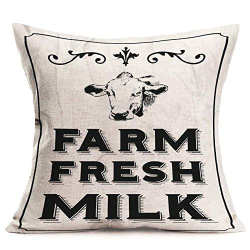 WXM Throw Pillow Covers Cotton Linen Farmhouse Animals Pillow Cover Retro Farm Fresh Milk Dairy Feed Decorative Pillow Case Home Sofa Couch Cushion Cover 18' x 18' (Farm Fresh Milk)