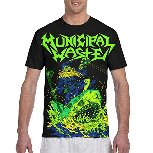 JEFFERYjSPARKS ludouqingJ Camisetas y Tops Hombre Polos y Camisas, Municipal Waste Men's 3D Double Side Full Printed T-Shirt Cool Tees