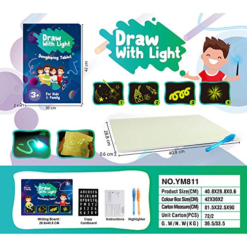Liamostee Light Up Drawing Fun Developing Toy Draw Sketchpad Board Portable for Children Kids School