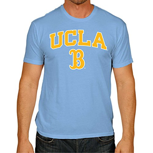 Campus Colors NCAA Adult Arch & Logo Soft Style Gameday T-Shirt (UCLA Bruins - Light Blue, Small)
