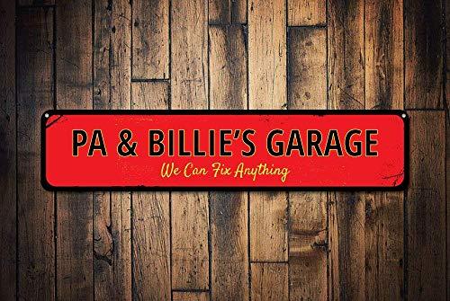 BCTS Garage We Can Fix Anything Schild Personalized Mechanic Name Sign Custom Metal Garage Car Lover Man Cave Sign Metal Outdoor Straßenschild/U-Bahnschild 10,2 x 40,6 cm