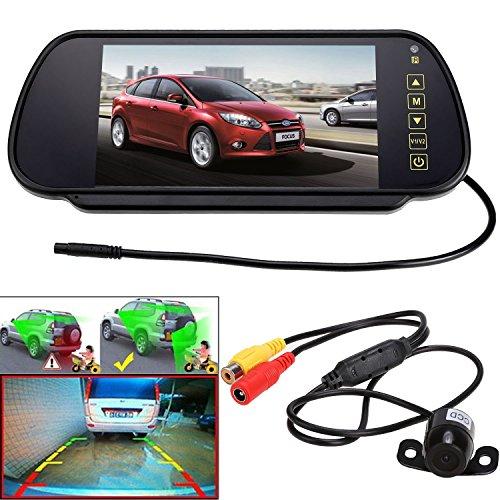 Teamyy 2 in 1Auto Rückfahrkamera kabellos IR Nachtsichtkamera 7 Zoll LCD-Display Funk Rückspiegel HD Umkehrung Spiegel