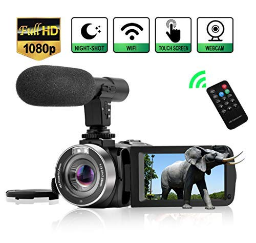 Camcorder Digital Video Camera, WiFi Vlog Camera Camcorder with Microphone IR Night Vision Full HD...