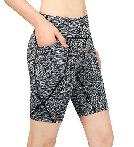 Cassiecy Damen Compression Sports Shorts Yoga Running Fitness Stretch Tights Kurze Hosen (XL, Hellgrau)