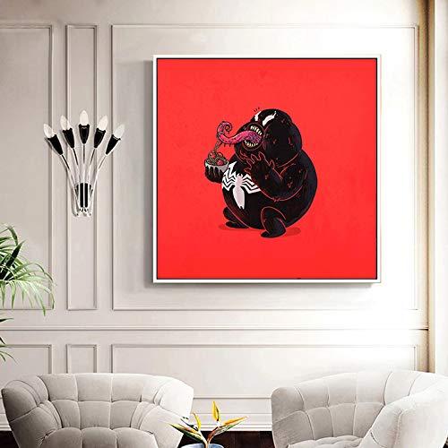 Frameloze dikke held humoristische eten voedsel posters en afdrukken vleermuis spider staal held nordic poster muur kunst canvas
