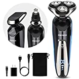 Mens Electric Razor for Men Electric Face Shavers Rechargeable Shaving Men's Cordless Razors IPX7 Waterproof Wet Dry 3 in 1 Rotary Shavers Beard Nose Mustache Trimmer USB Charging Black by PRITECH