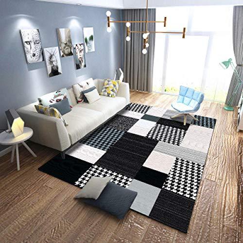 DJYTHLT Alfombra de diseño moderno, color blanco y negro a rayas clásicas, 150 x 200 cm, para interiores o exteriores, para salón o patio,
