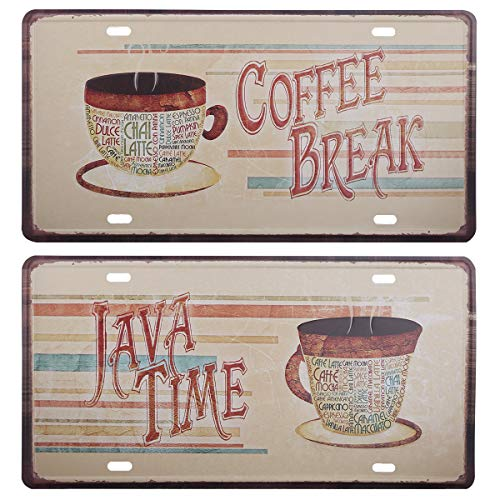 HANTAJANSS Java Time Coffee Break Plate Metal Sign 2 Pack, Retro Vintage Tin Signs for Car Plate Cover, Coffee House, Garage, Rest Area, Restaurant, Bar, Store Decoration
