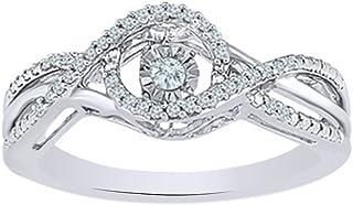 Vendita di vacanze Bianco Diamante Naturale Danza Moda Anello In Oro Solido 10ct (0,17 Ct)
