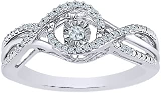AFFY White Natural Diamond Dancing Fashion Ring in 10K Solid Gold (0.17 Ct)