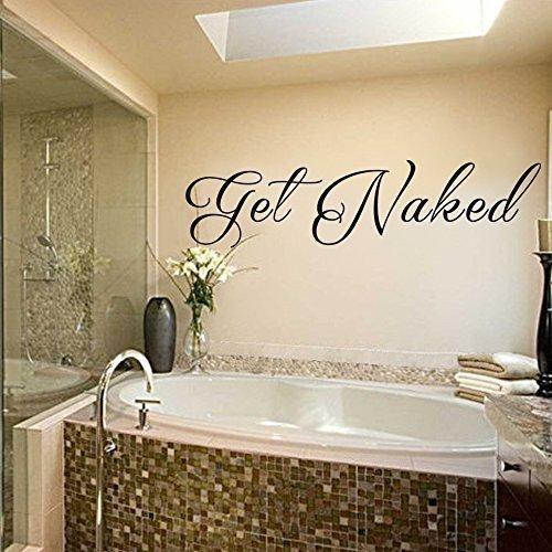 Calcomanías de pared con cita para baño con texto en inglés 'Get Nake', color negro