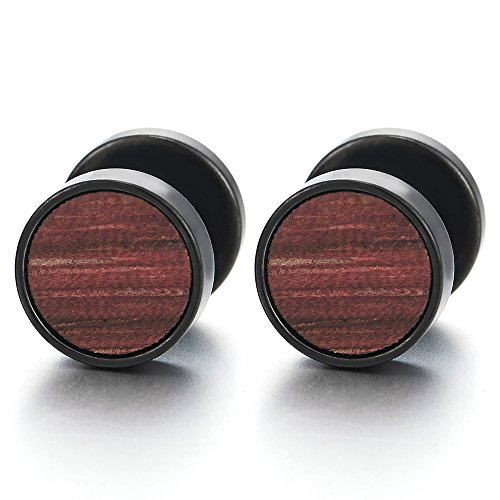 2 Negro Círculo Pendientes Aretes con Madera de Hombre Mujer, Acero Enchufe Falso Fake Cheater Plugs Gauges, 10MM 01