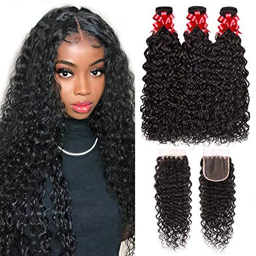Water Wave Bundles with Closure Brazilian Virgin Hair 100% Unprocessed Weave Bundles Wet and Wavy Human Hair Bundles with 4x4 Lace Closure Human Hair Extension Free Part (20 22 24+18)